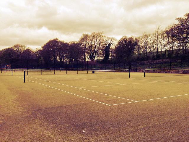 tennis court with white lines